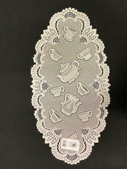 Lace table runner Teacup set of 4 in Ecru 12'' x24''r made i