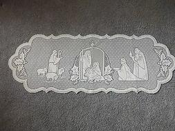 """Lace Table Runner White Silent Night design 41"""" x 14"""""""