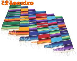 "Large Woven Mexican Sarape Zarape Table Runner 12"" Wide 72"""