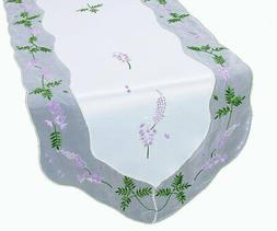 Xia Home Fashions Lavender Embroidered Table Runner, 15-Inch