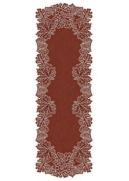 Heritage Lace Leaf 20-Inch by 60-Inch Mantle Runner, Dark Pa