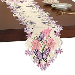 Collections Etc Lilies & Butterflies Elegant Spring Embroide