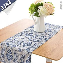 Linen Blend Damask Table Runner One Piece 13 by 72 inch, Blu