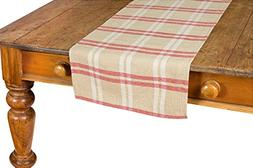 """Xia Home Fashions Linen Check Table Runner, 16 by 36"""", Natur"""
