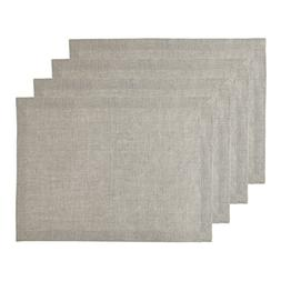 Solino Home Pure Linen Placemats - Natural,14 x 19 Inch Set