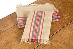 Xia Home Fashions Linen Stripe Tea Towel, 14 by 22, Natural,