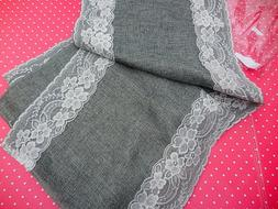 Ling's ~   Grey Burlap Look Linen Table Runner with Lace Tri