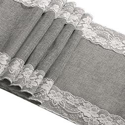 Ling's moment 12 x 108 Inch Grey Burlap Table Runner with La
