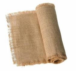 Ling's moment 12 x 108 Inches Fringe Jute Burlap Table Runne