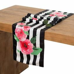 Ling's moment 12 x 72 Inch Floral Black and White Striped Ta
