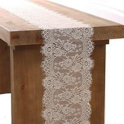 Ling's moment 12x120 inches White Lace Table Runner Rustic C