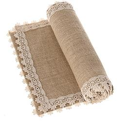 Ling's moment 12x84 Inch Burlap Cream Lace Hessian Table Run