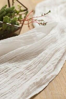 "Ling's Moment 17""Wide Crinkled Ramie Cotton Blend Table Runn"
