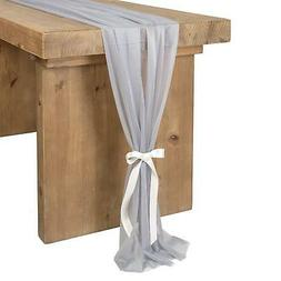 Ling's moment 32 x 120 inches Blue Gray Sheer Table Runner/O
