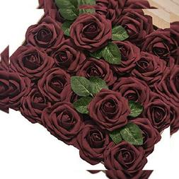 """Ling's moment Artificial Flowers Roses 50pcs Real Regular 3"""""""