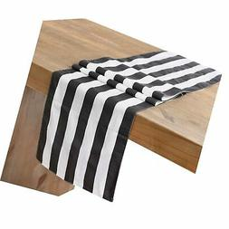 Ling's moment Classic 1 Inch Black and White Striped Table R