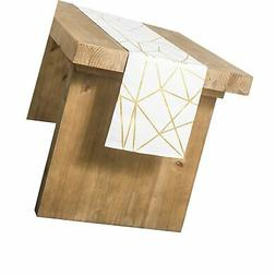 Ling's moment Geometric-Inspired White and Gold Table Runner