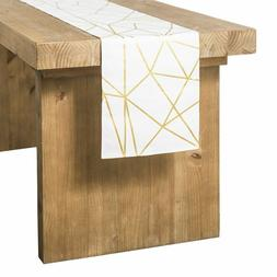 Ling's moment Gold Foil Geometric Pattern Table Runner 12 x