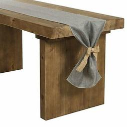 Ling's moment Gray Faux Burlap Table Runner 14 x 96 Inch wit