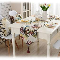 Lesic Long Leaves Table Runner Red Country Style with Pendan