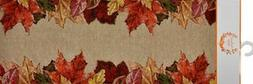 "Long Tapestry Table Runner, 13"" x 72"", FALL, LEAVES ON TOP &"