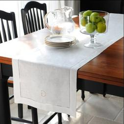 """Loom State Pure Linen Hemstitch Table Runner White 14"""" x 108"""