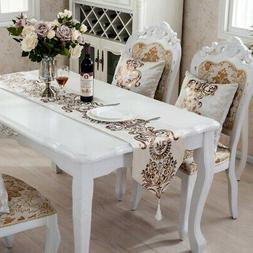 Luxury Hot Stamping Table Runner Floral Decorative European