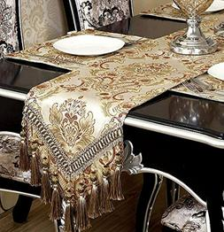 luxury thick lined damask table runners decoration