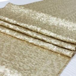 """Matte Gold Sequin Table Runner 14"""" x 108"""" Sequin TableCloth"""