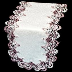 """Mauve Rose Lace Dresser Scarf Table Runner Pink 35"""" Doily"""