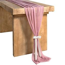 Mauve Sheer Table Runner for Rustic Boho Wedding Party Brida