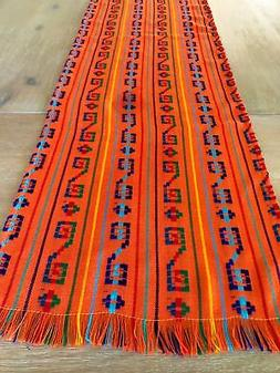 Mexican Fabric Table Runner or Tablecloth Bohemian Orange em