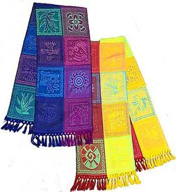 "Mexican Mayan Table Runner Large 72""x17"" Colorful Geometric"