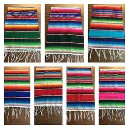 "Mexican Serape Table Runner 81""X14"" 1st quality XLARGE ,Salt"