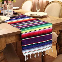 OurWarm 14 x 84 inch Mexican Serape Table Runner for Mexican