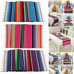 Mexican Serape Table Runner Tablecloth Cotton Fiesta Themed