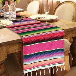 Mexican Serape Table Runner Fringe Cotton Tablecloth Fiesta