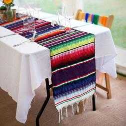 """84"""" Mexican Table Runners Fringe Cotton Serape Table Runner"""