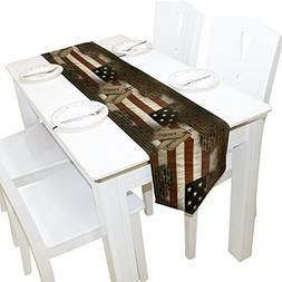 ALAZA Military Dog Tags on American Flag Behind Brick Table