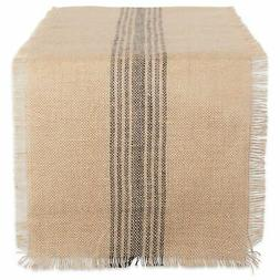DII Mineral Middle Stripe Burlap Table Runner