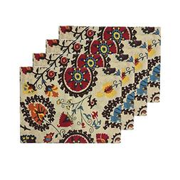 Aothpher Set of 4 Modern Boho Cotton Floral Place Mats Jacqu
