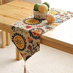 Aothpher Modern Boho Floral Pattern Table Runner with Tassel