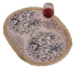 Aothpher Set of 4 Modern Elegant Oval Place Mats Blue Polyes