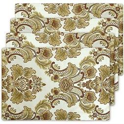Grelucgo Modern Luxury Jacquard Fabric Floral Table Placemat