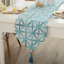 Modern simple geometric patterns tassel table runner for par