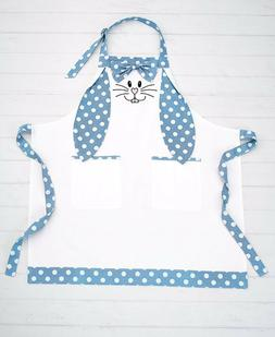 Mommy And Me Easter Bunny Rabbit Apron - Adult's Blue Polka