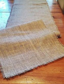Natural Burlap Table Runner with Fringed Edge - Various Size