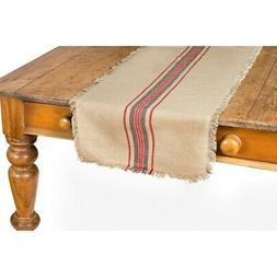 Natural Linen Stripe Table Runner, 16 by 36-Inch