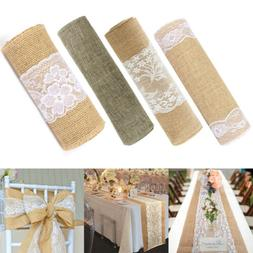 Natural Rustic Burlap Hessian Lace Table Runner Wedding Banq