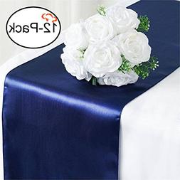 Tiger Chef 12-Pack Navy Blue 12 x 108 inches Long Satin Tabl